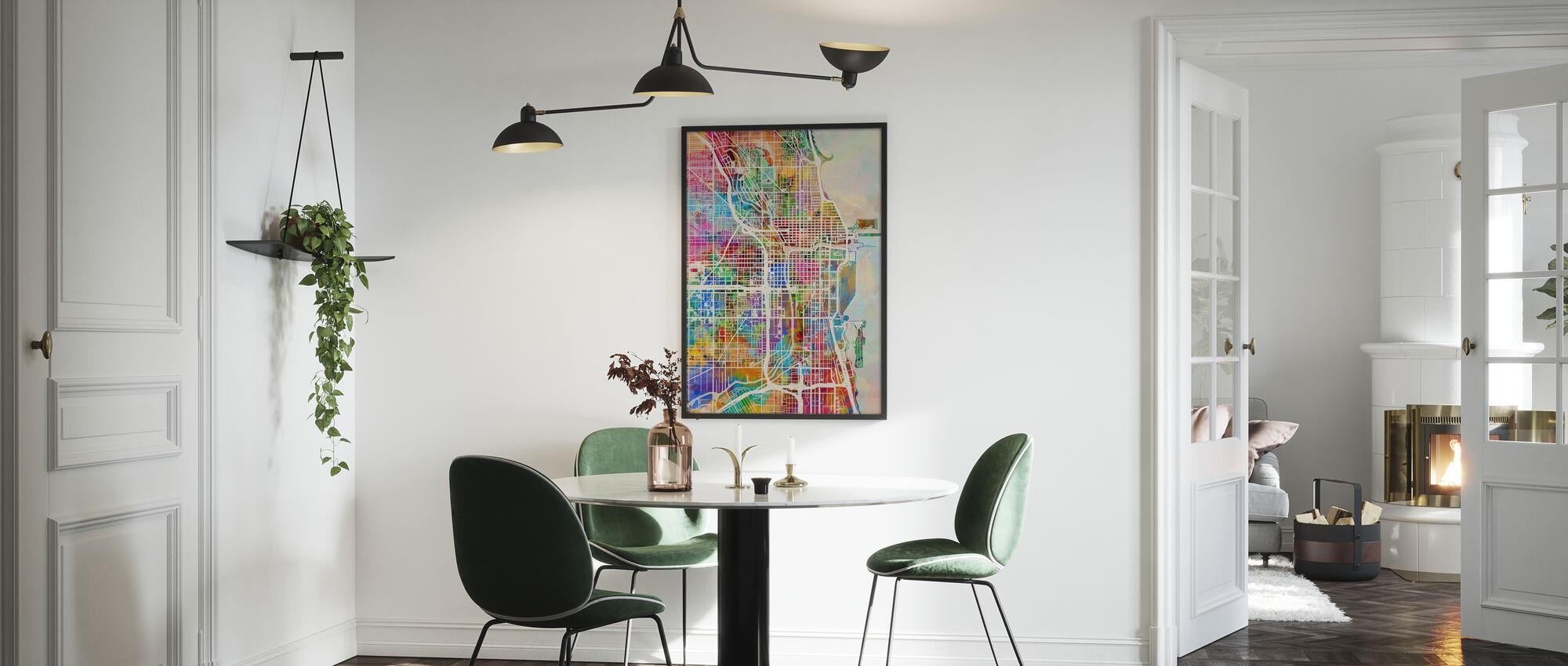Chicago Street Map Flerticolour - Innrammet bilde - Kjøkken