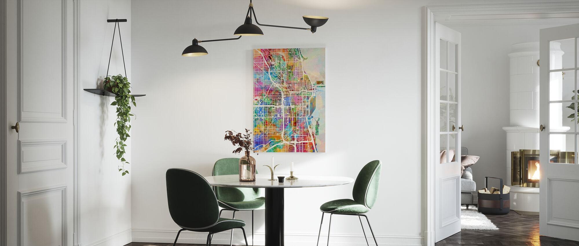 Chicago Street Map Multicolour - Canvas print - Kitchen