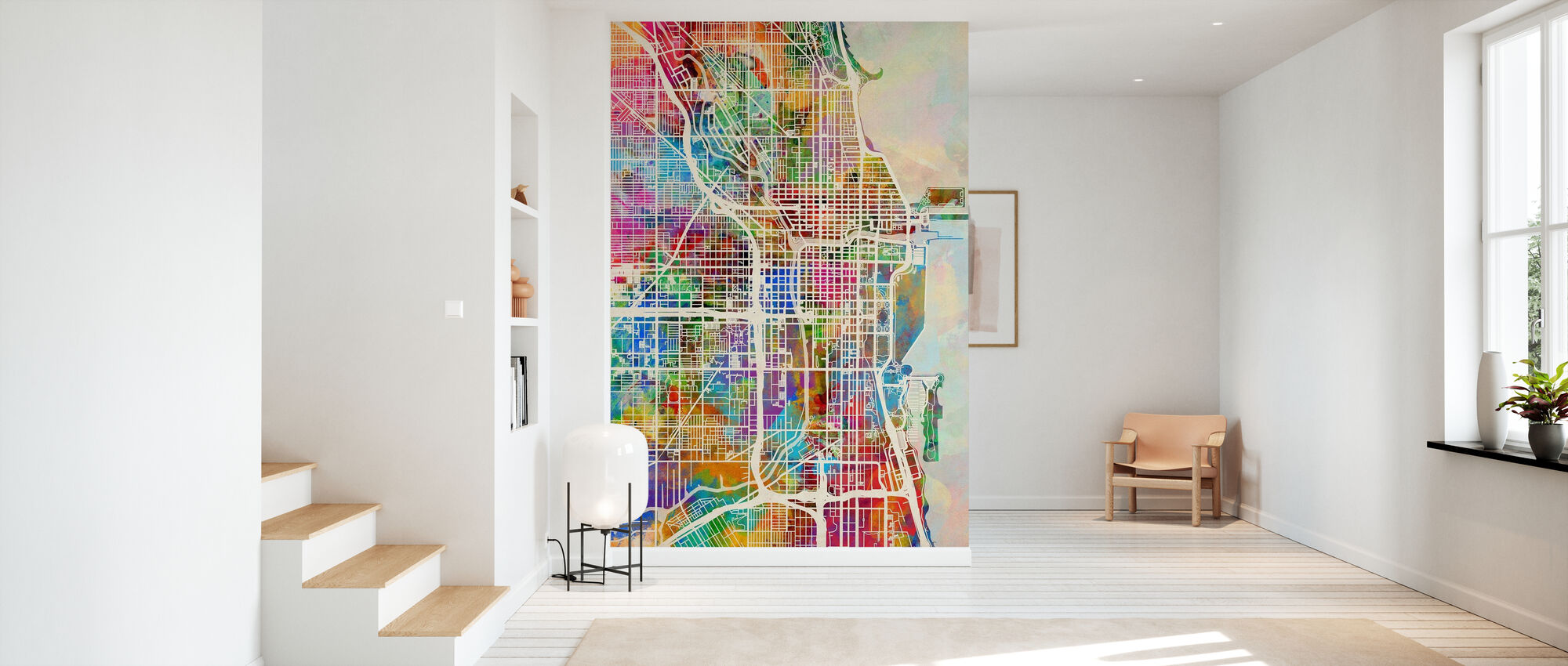 Chicago Street Map Multicolour - Wallpaper - Hallway