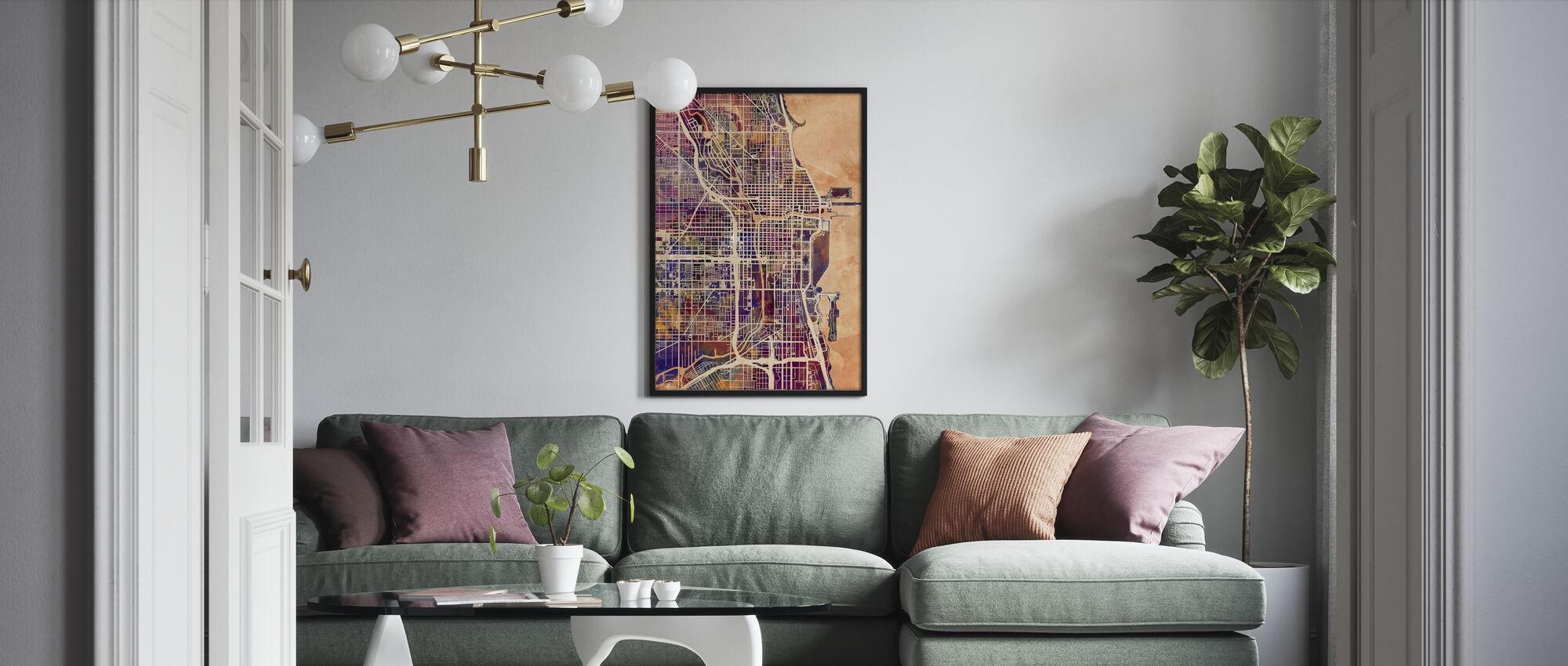 Chicago Street Kartta Violetti - Kehystetty kuva - Olohuone
