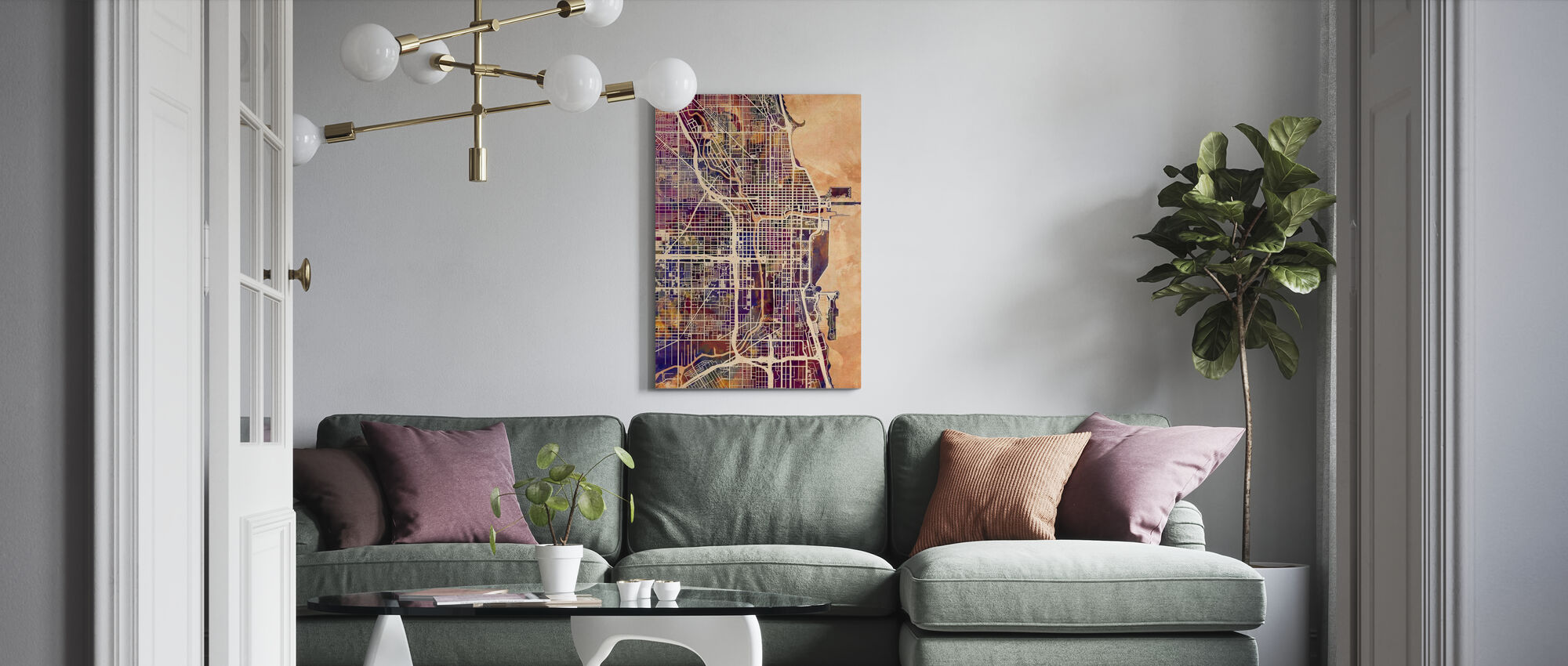 Chicago Street Map Purple - Canvas print - Living Room