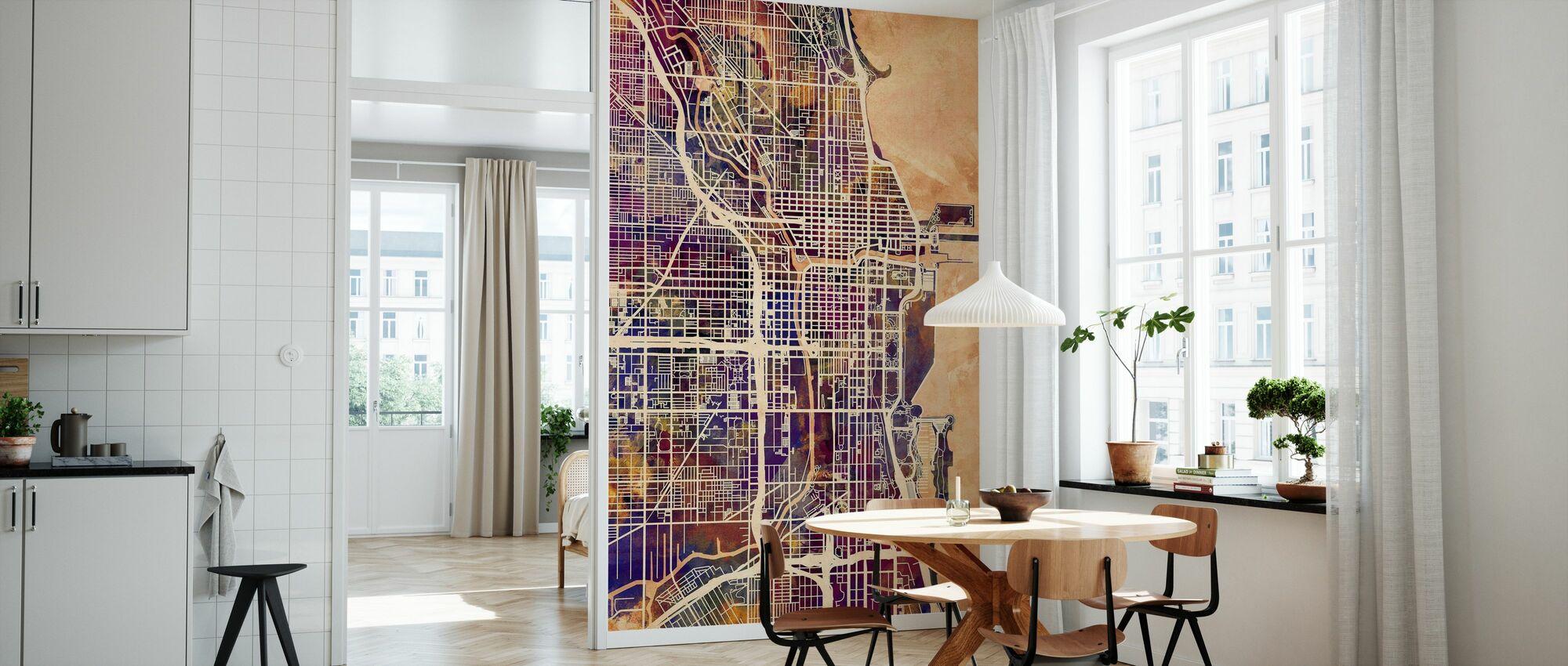 Chicago Street Map Purple - Wallpaper - Kitchen
