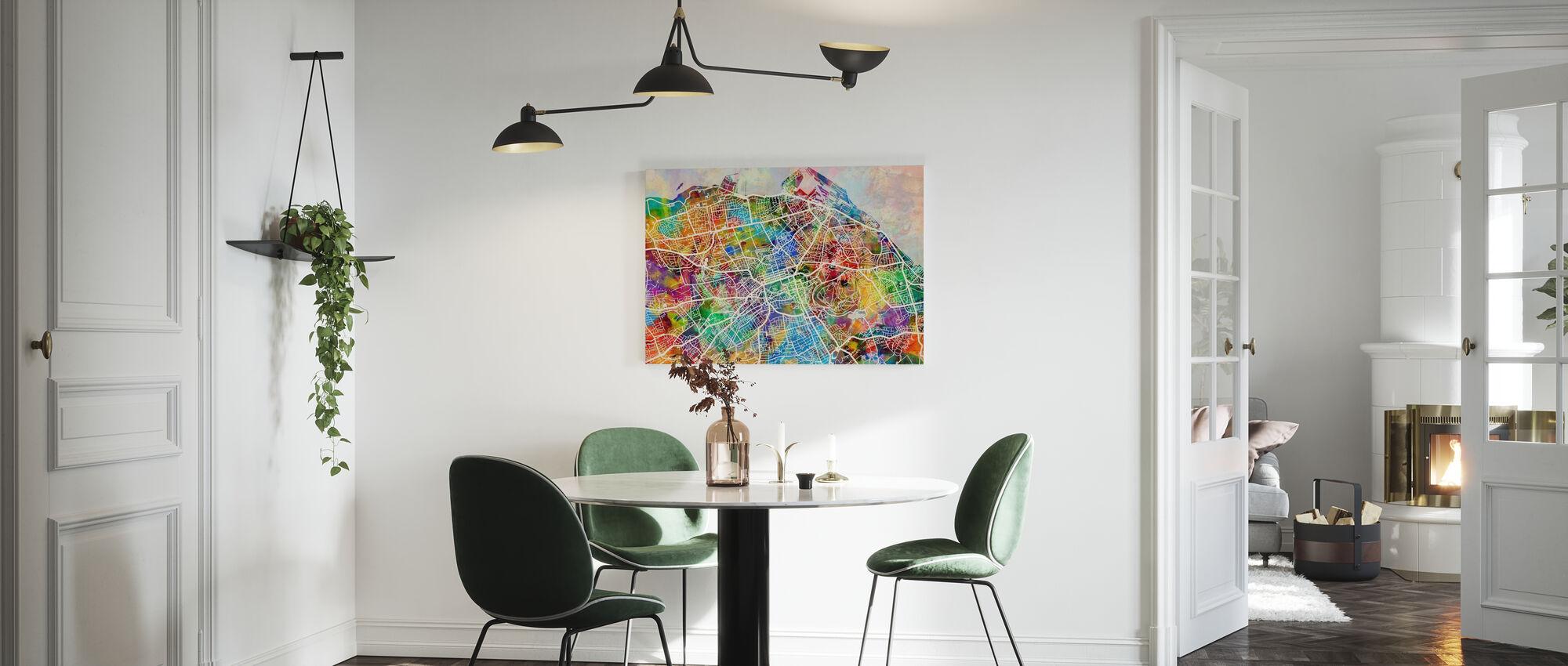 Edinburgh Street Map Multicolour - Canvas print - Kitchen
