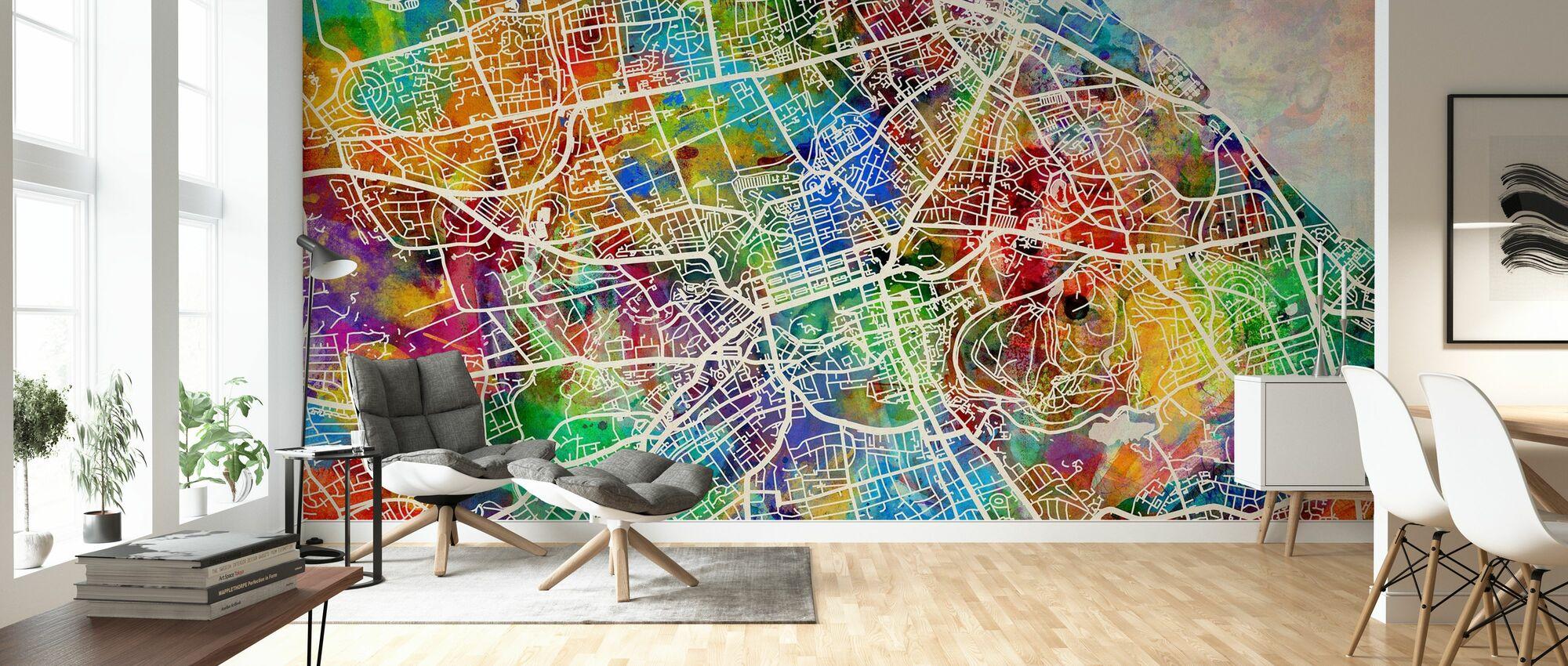 Edinburgh Street Map Multicolour - Wallpaper - Living Room