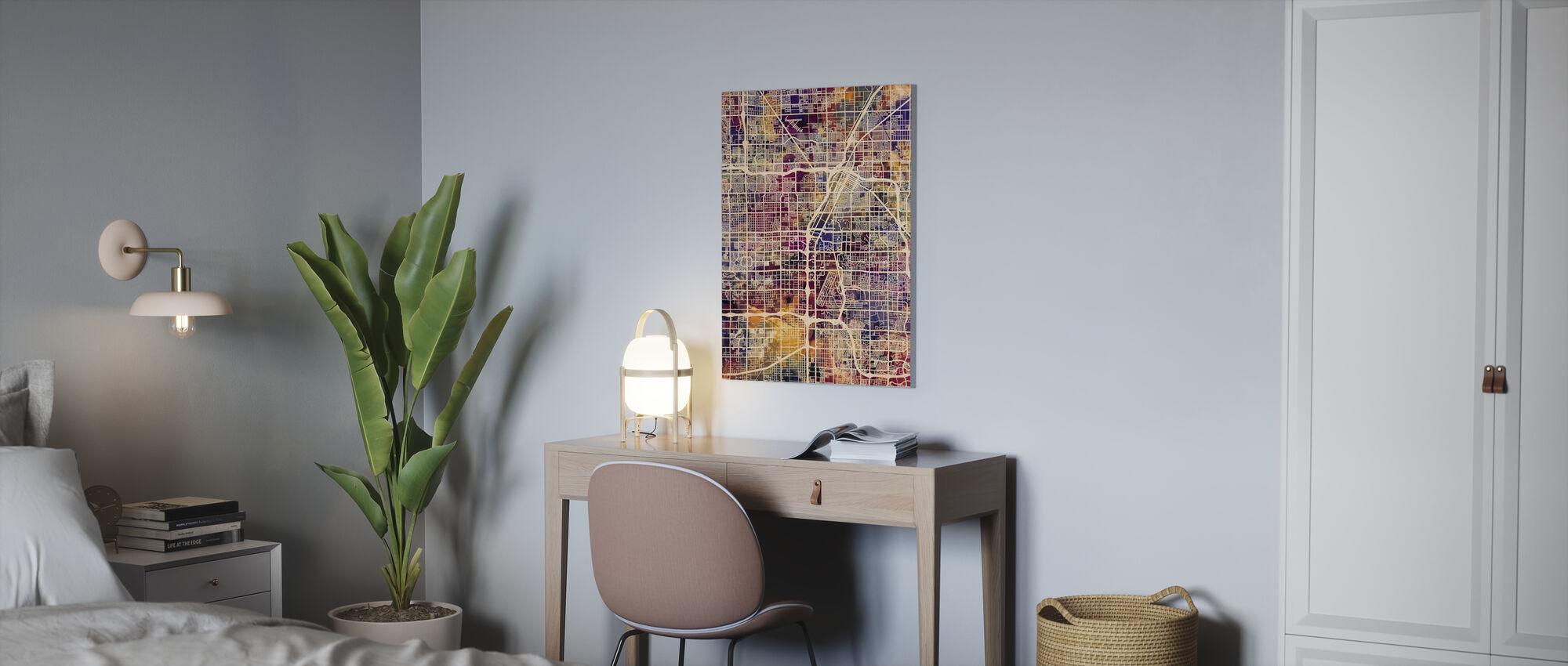 Las Vegas Street Map Purple - Canvas print - Office