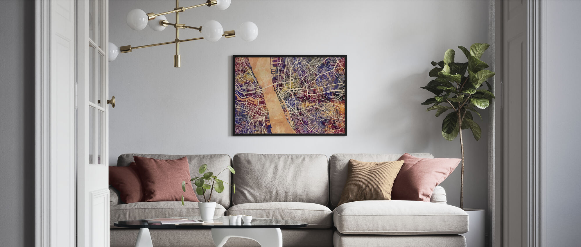 Liverpool Street Map Purple - Poster - Living Room