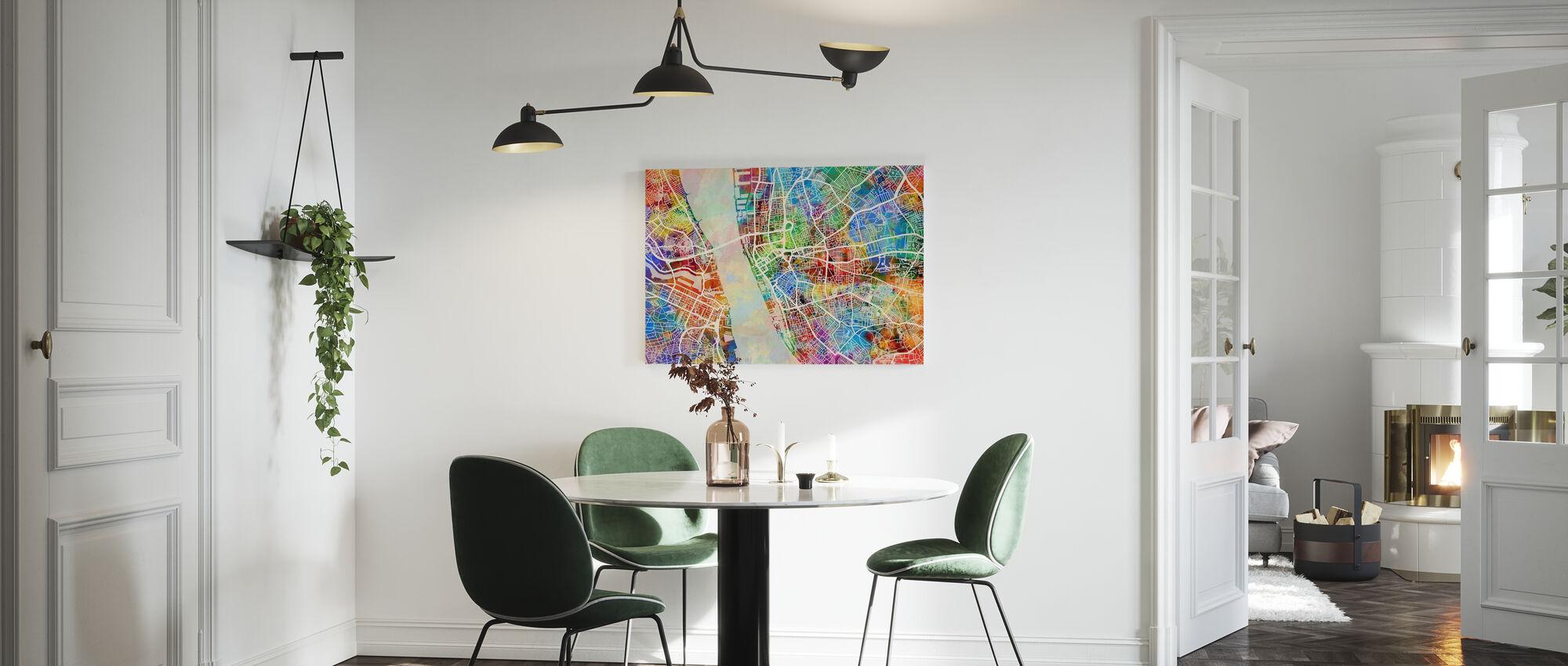 Liverpool Street Map Multicolour - Canvas print - Kitchen