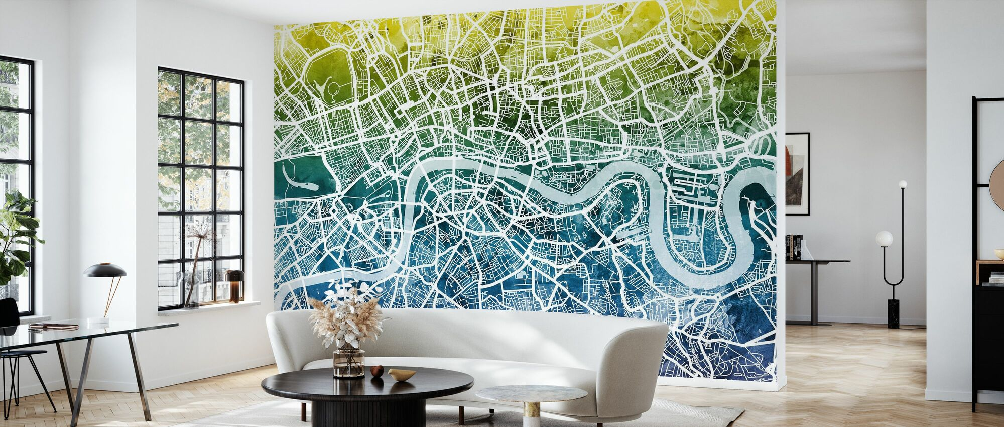 Lontoo Street Kartta Bluegreen - Tapetti - Olohuone