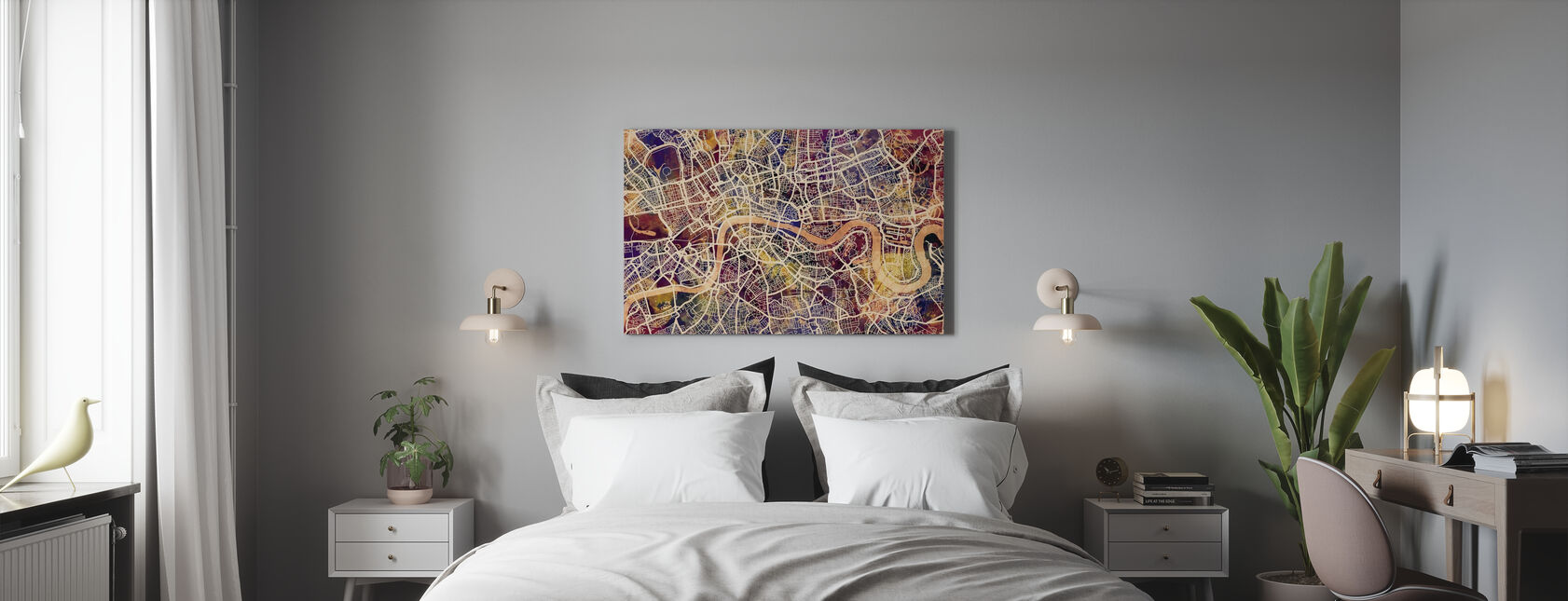 London Street Map Purple - Canvas print - Bedroom