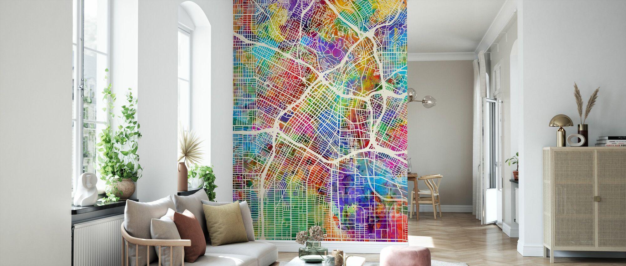 Los Angeles Street Map Multicolour - Wallpaper - Living Room