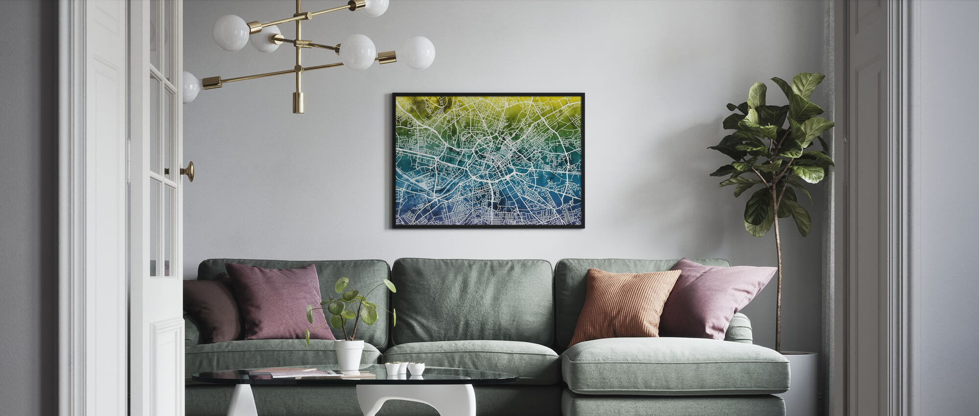 Manchester Street Map Bluegreen - Poster - Living Room