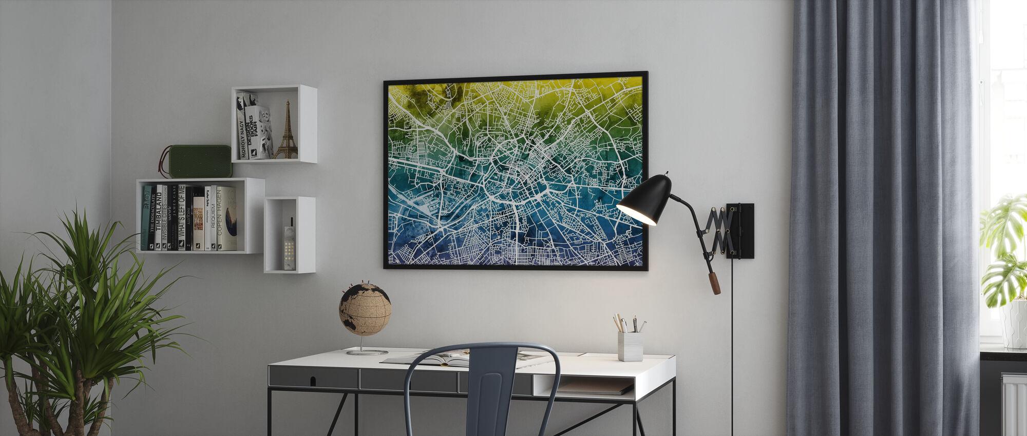 Manchester Street Kartta Bluegreen - Kehystetty kuva - Toimisto