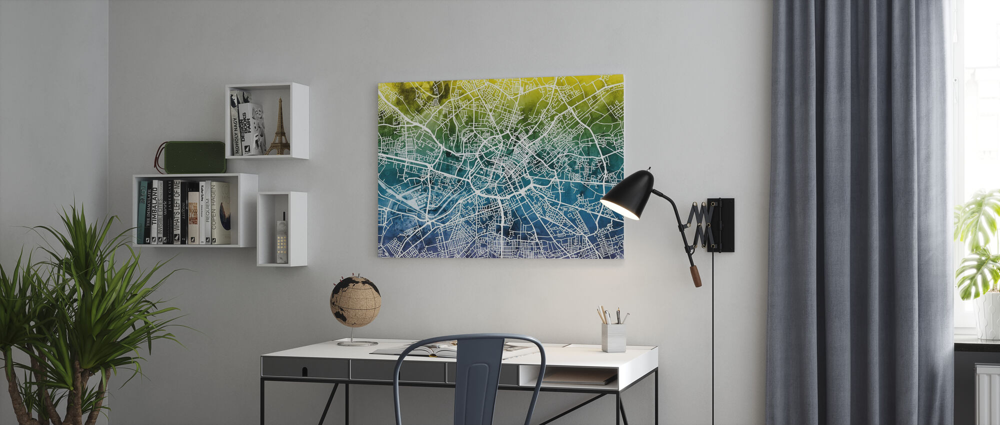 Manchester Street Carte Bluegreen - Impression sur toile - Bureau