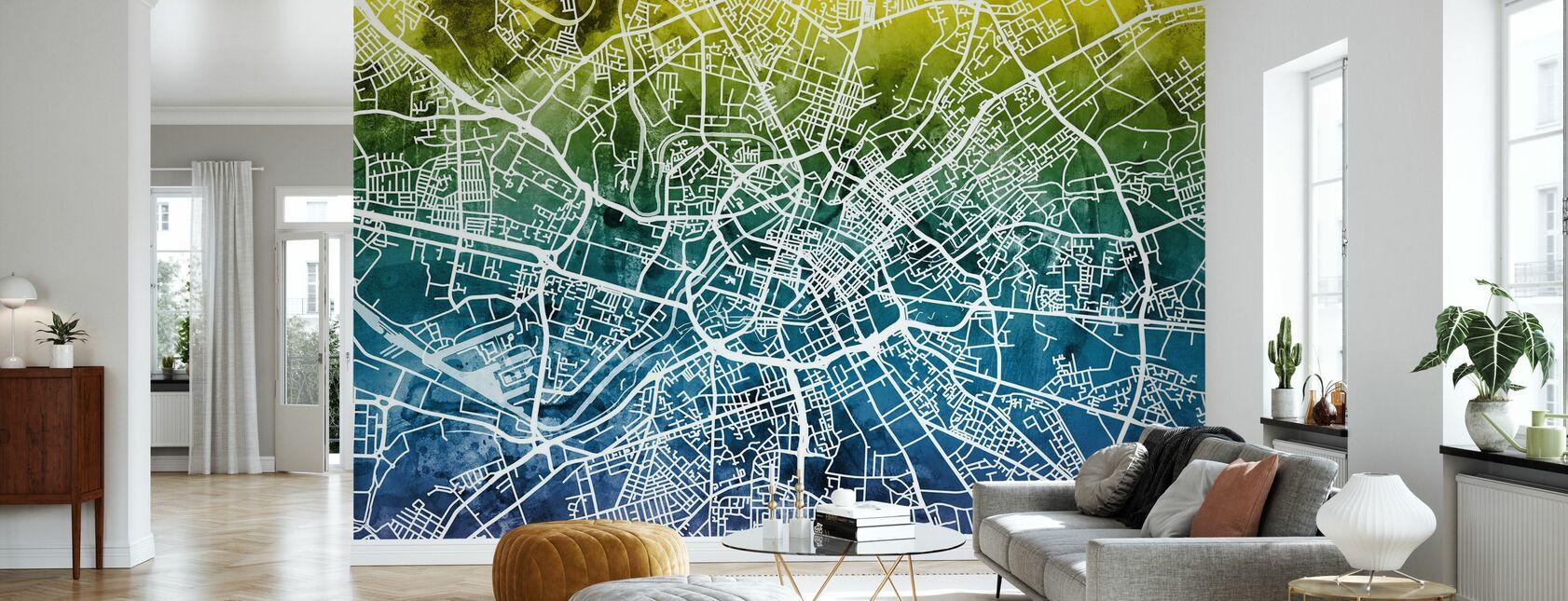 Manchester Street Map Bluegreen - Wallpaper - Living Room