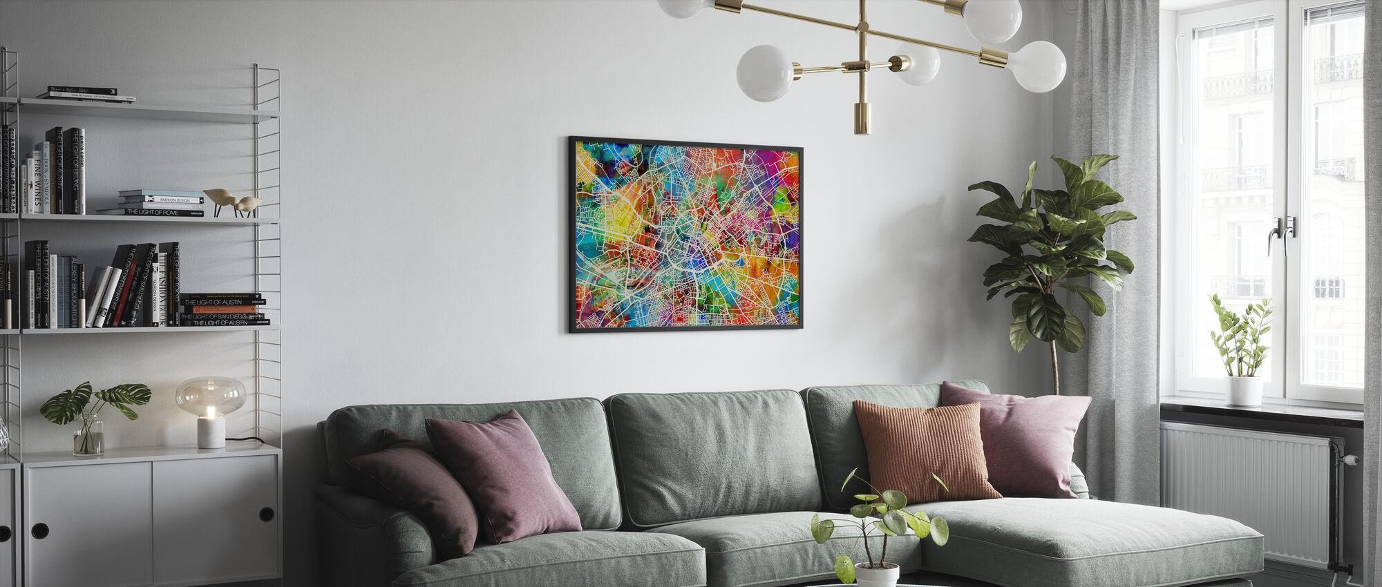 Manchester Street Kartta Multicolour - Kehystetty kuva - Olohuone