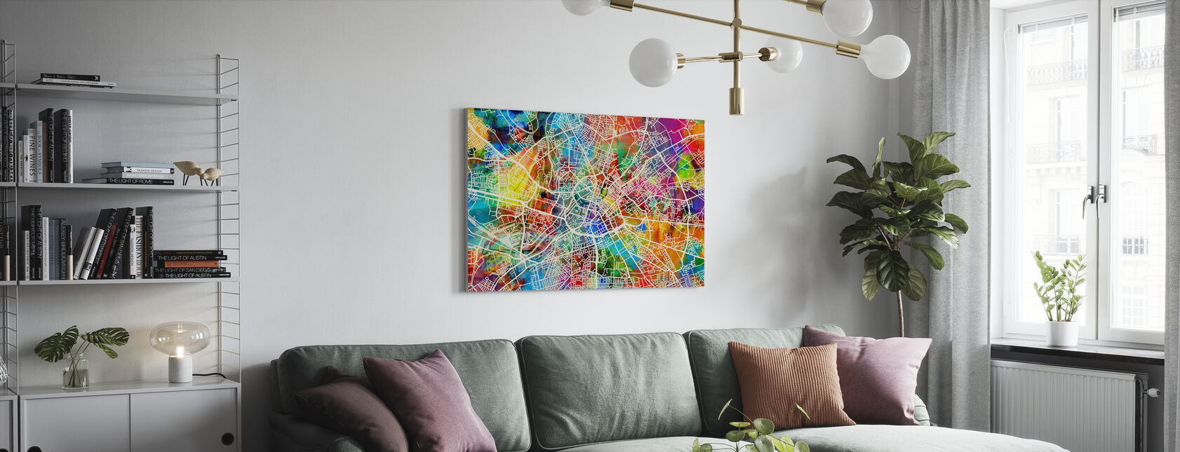 Manchester Street Map Multicolour - Canvas print - Living Room