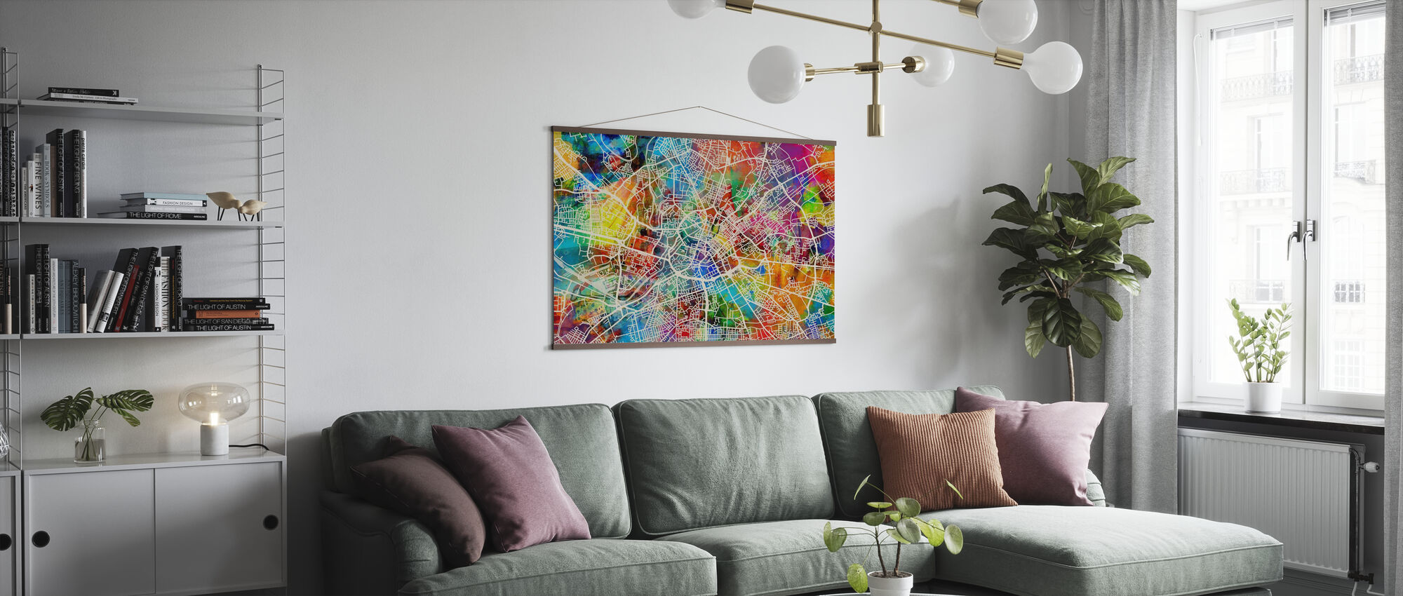 Manchester Street Map Multicolour - Poster - Living Room