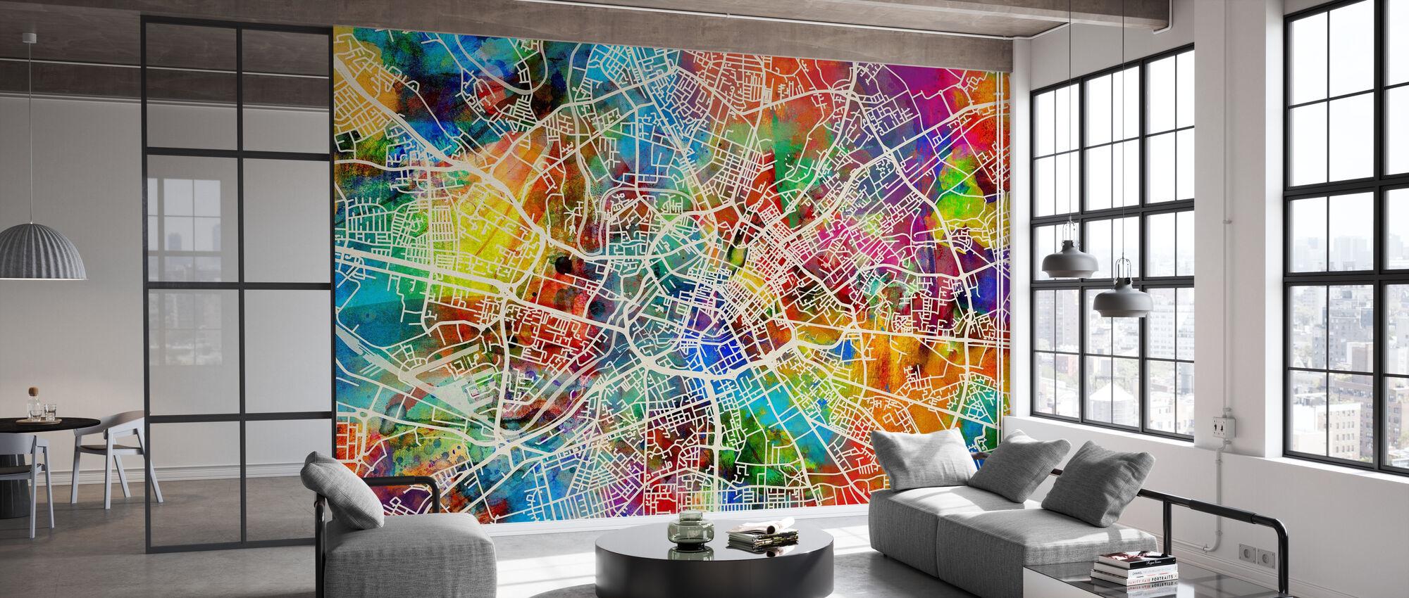 Manchester Street Map Multicolour - Wallpaper - Office