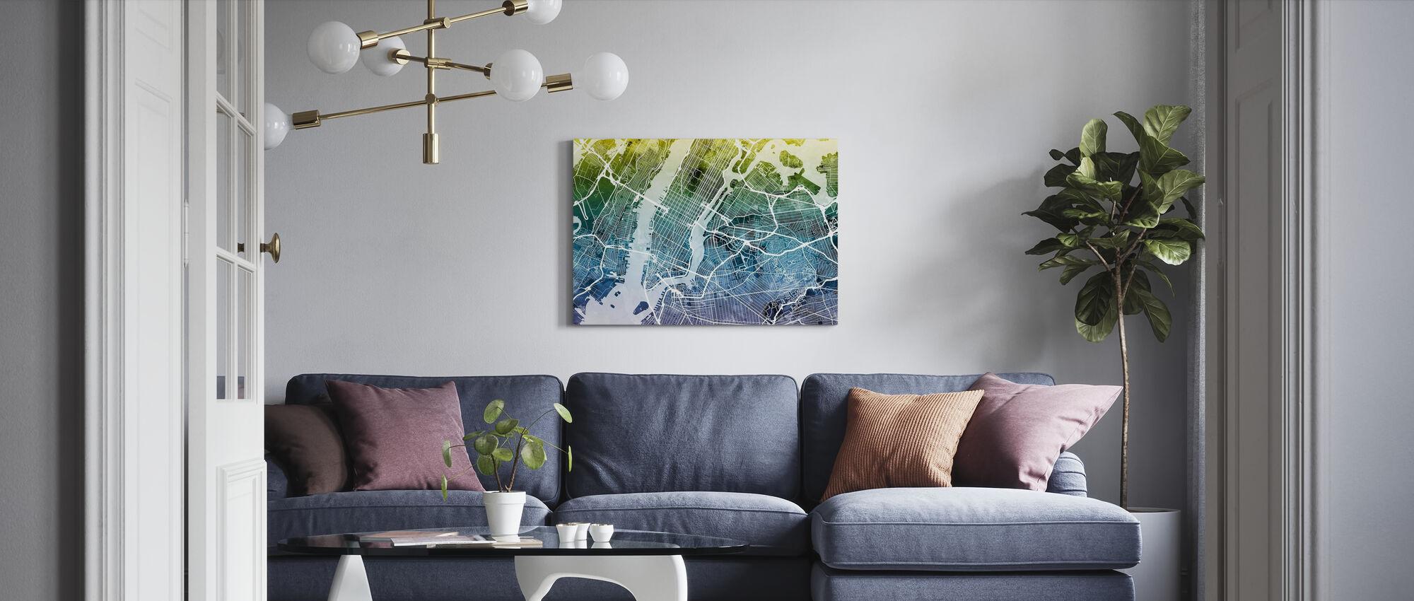 New York Street Map Bluegreen - Canvas print - Living Room