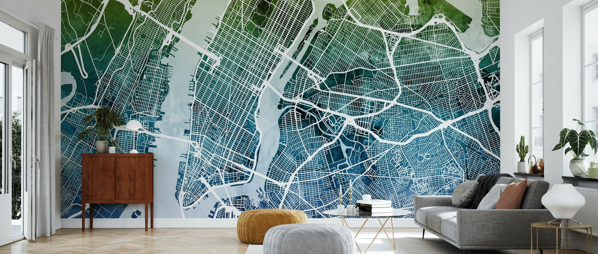 New York Street Map Bluegreen - Wallpaper - Living Room