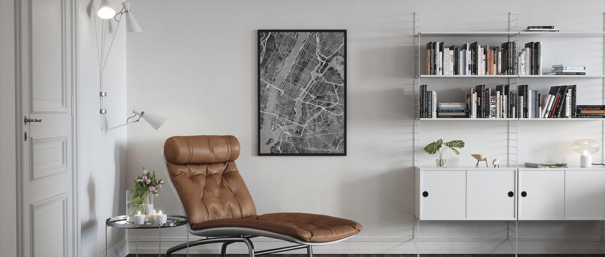 New York Street Map B/W - Poster - Living Room