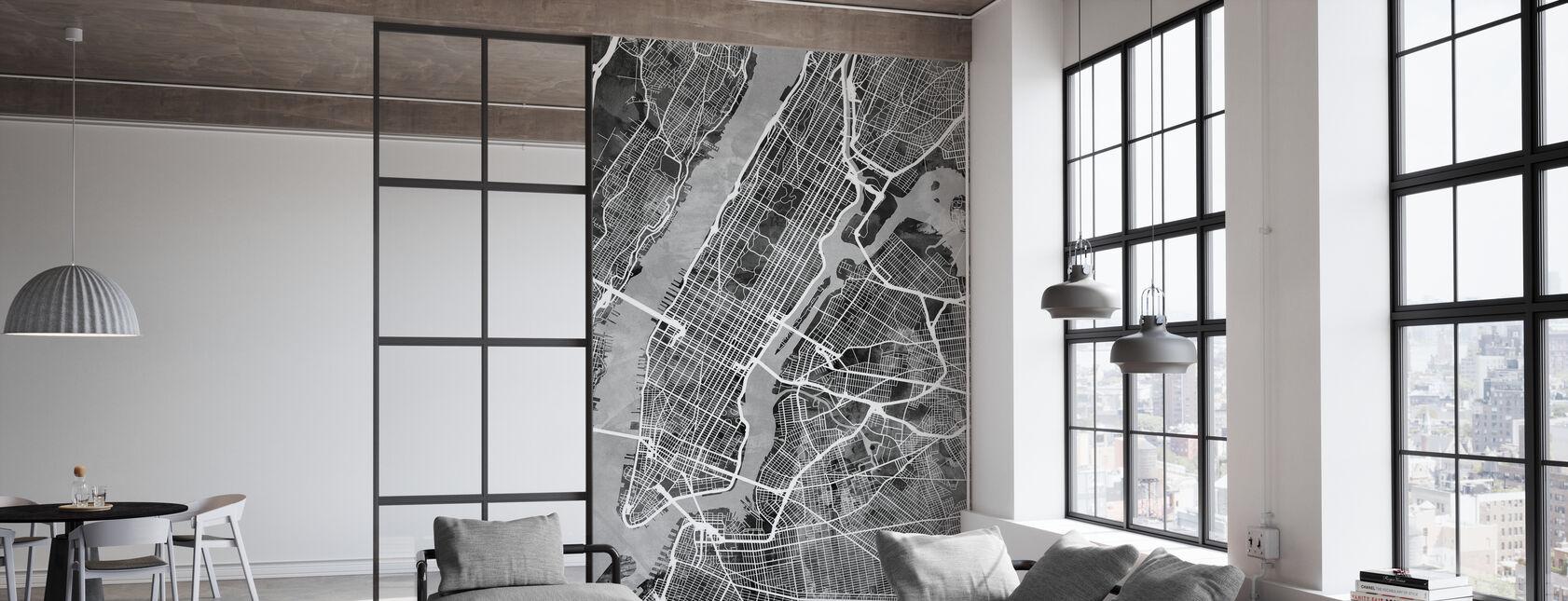 New York Street Karta B/W - Tapet - Kontor