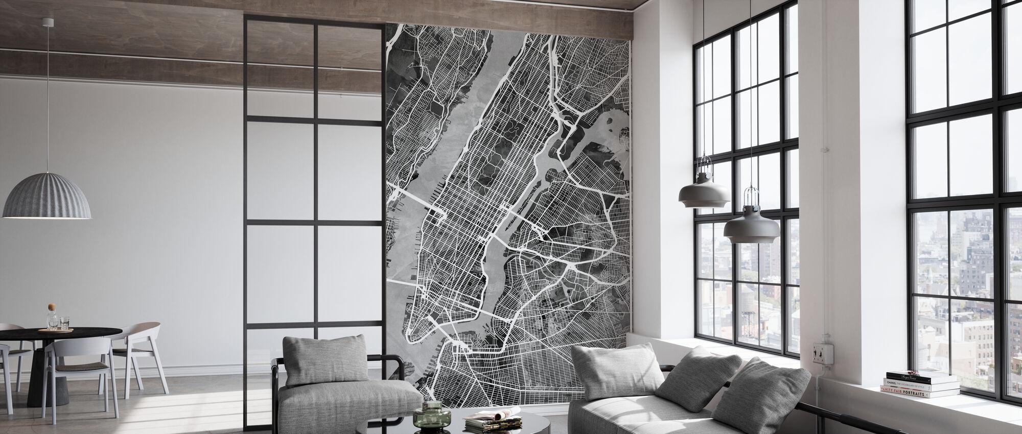 New York Street Map B/W - Wallpaper - Office