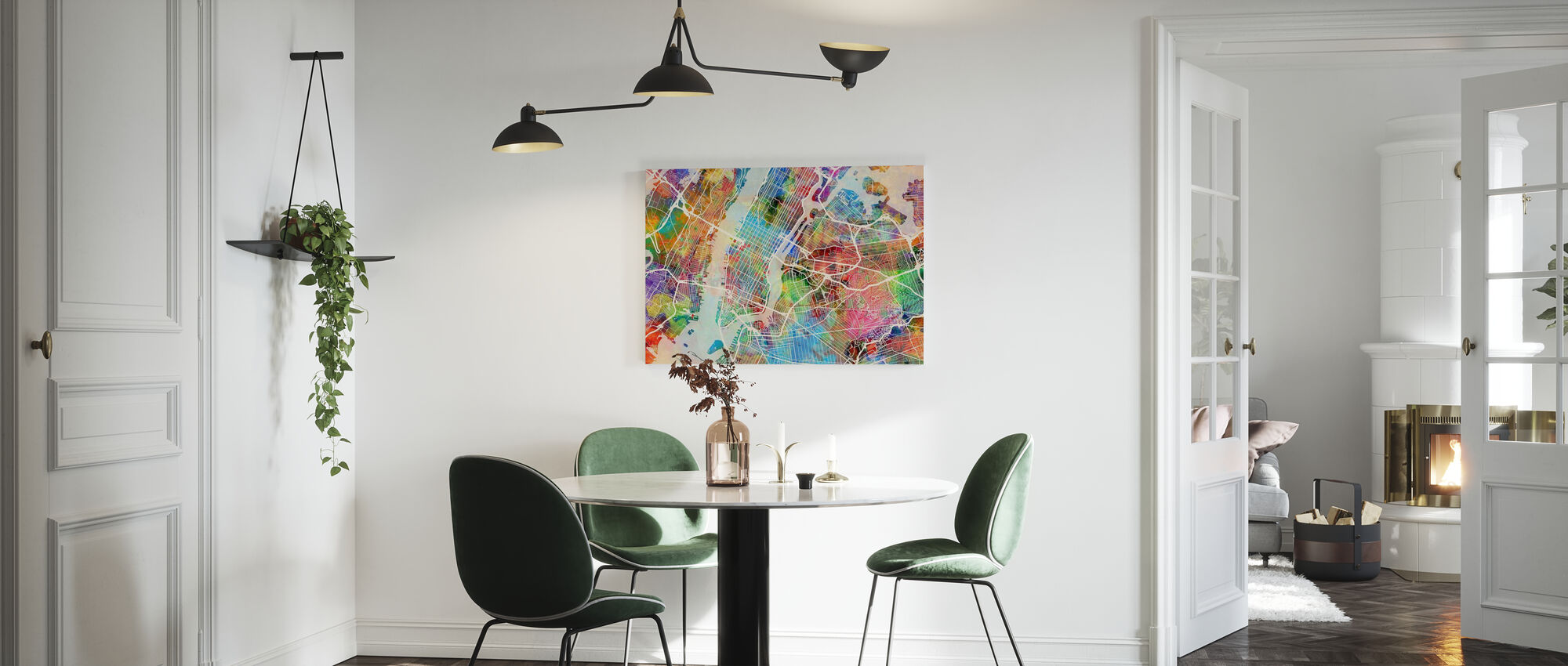 New York Street Map Multicolour - Canvas print - Kitchen