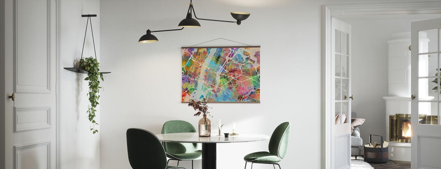 New York Street Kort Flerfarvet - Plakat - Køkken