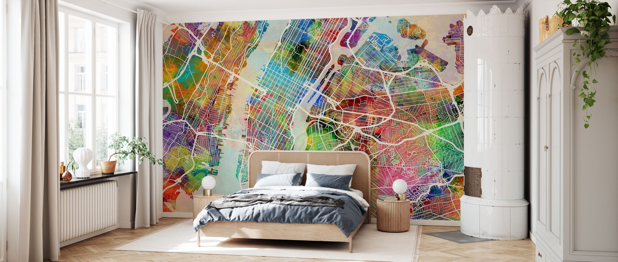 New York Street Map Multicolour - Wallpaper - Bedroom