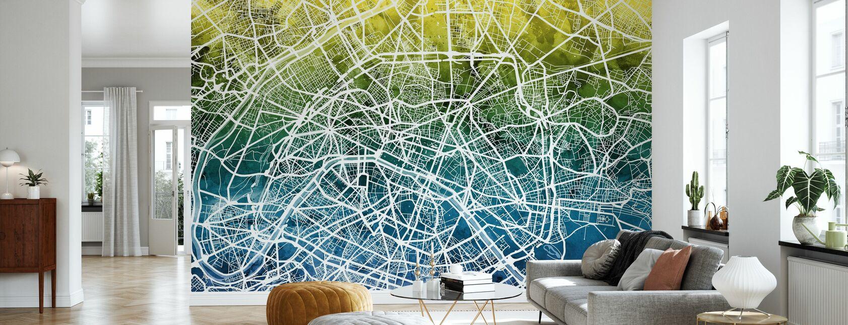 Pariisi Street Kartta Bluegreen - Tapetti - Olohuone