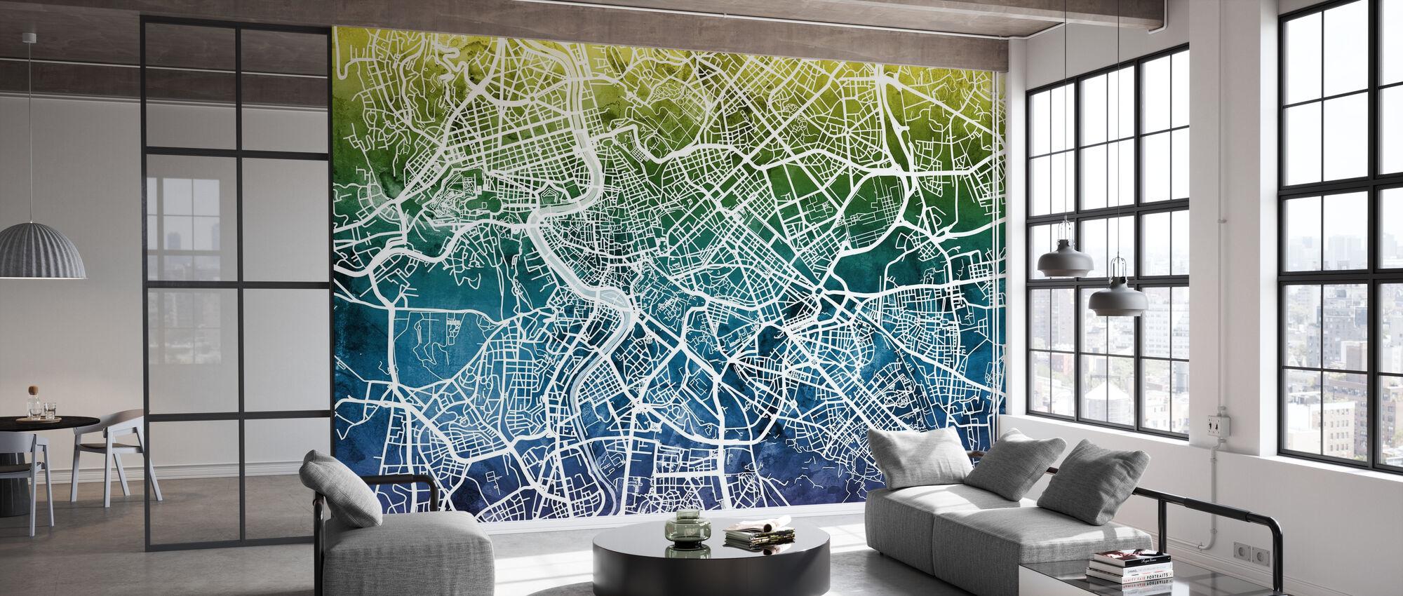 Rome Street Map Bluegreen - Wallpaper - Office