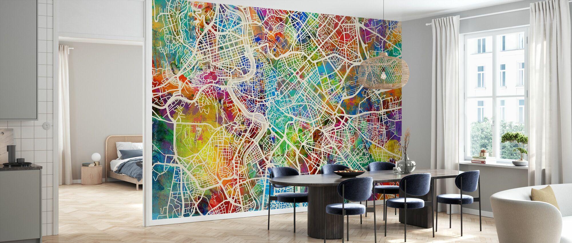 Rome Street Map Multicolour - Wallpaper - Kitchen