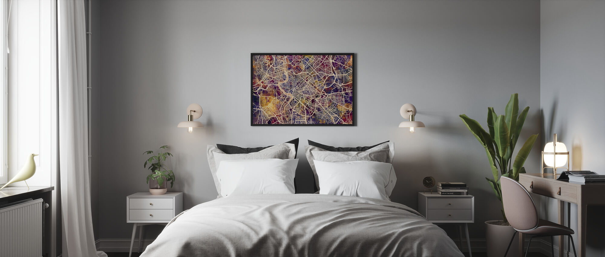 Rome Street Map Purple - Poster - Bedroom