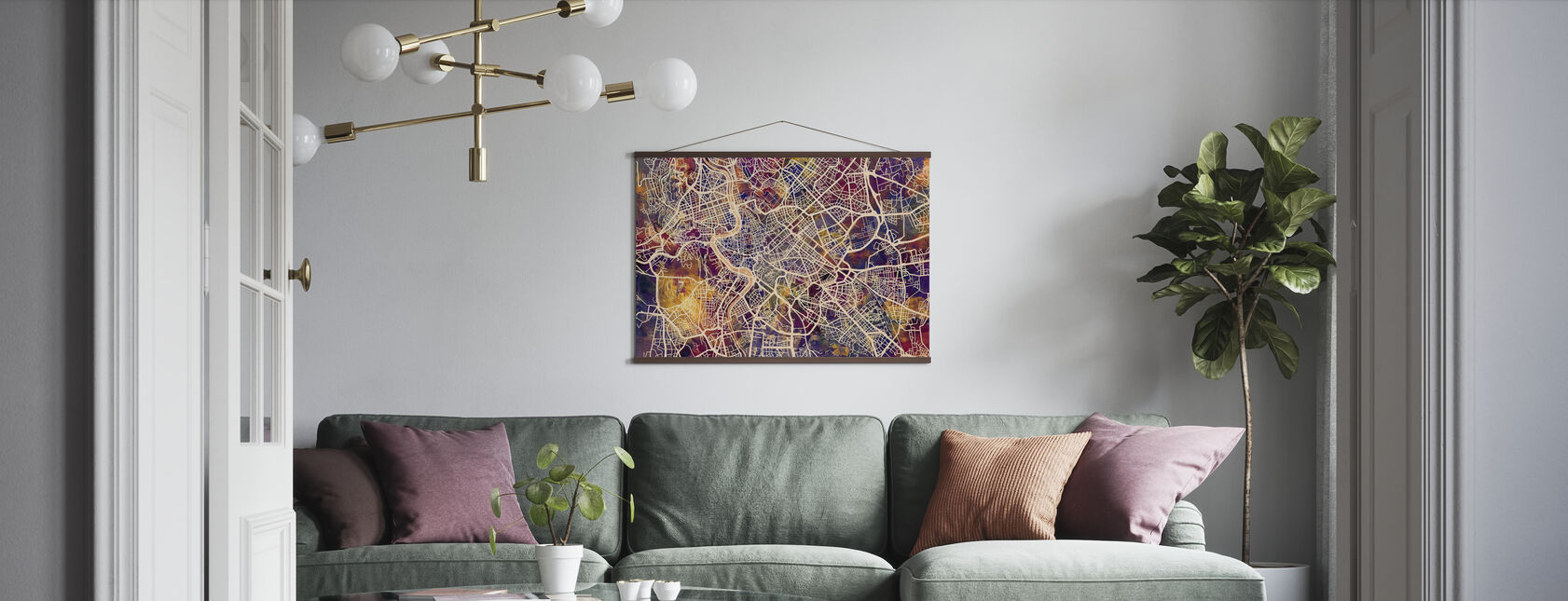 Rome Street Map Purple - Poster - Living Room