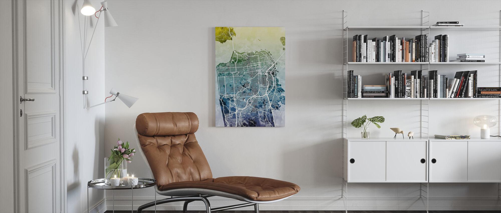 San Fransisco Street Map Bluegreen - Canvas print - Living Room