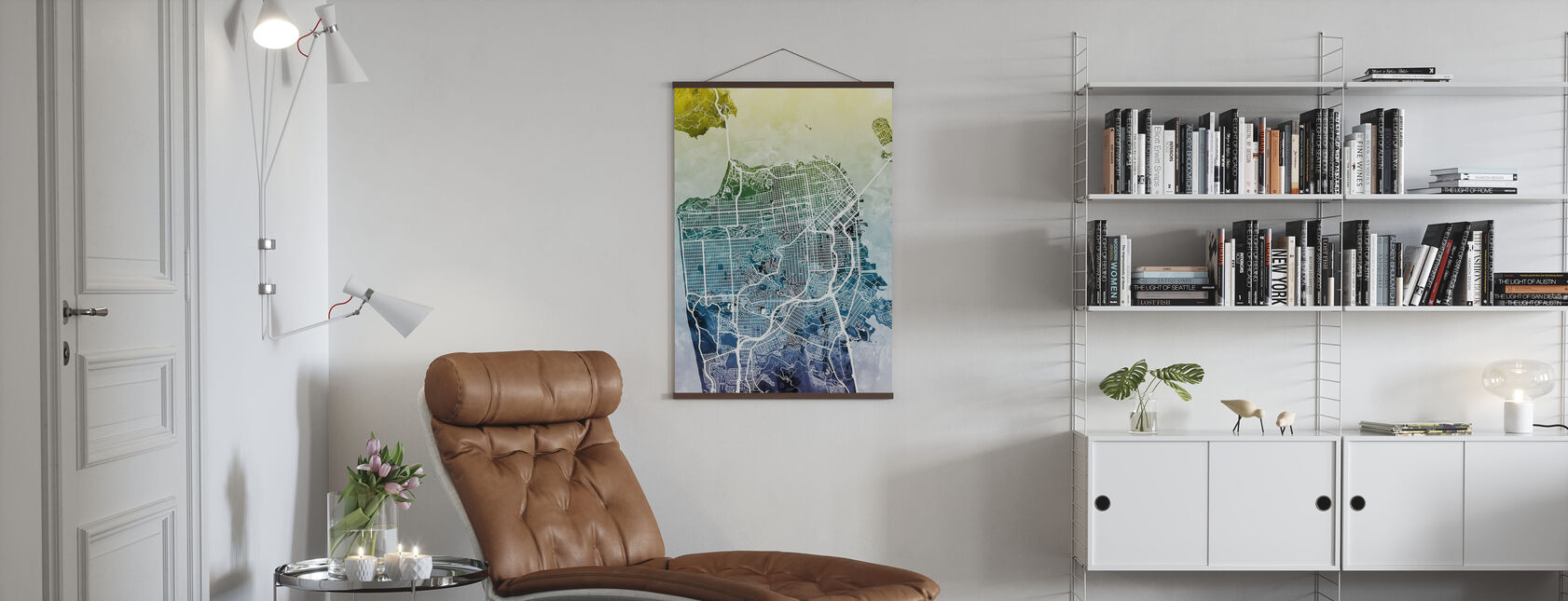 San Fransisco Street Map Bluegreen - Poster - Living Room