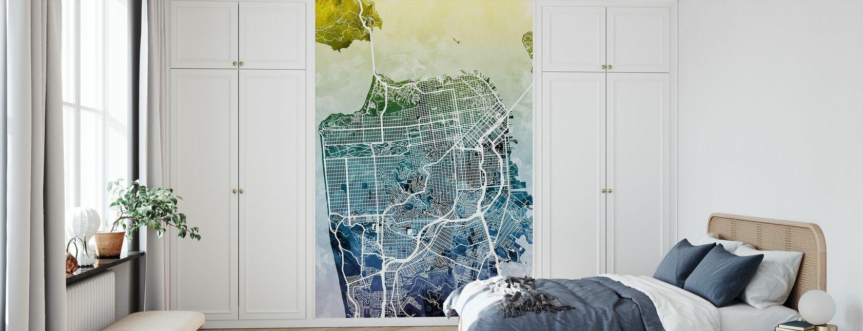 San Fransisco Street Map Bluegreen - Wallpaper - Bedroom