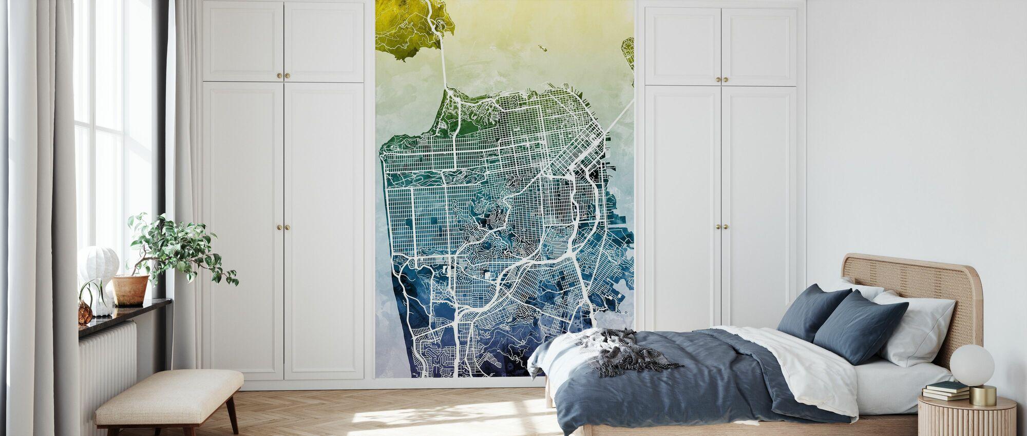 San Fransisco Street Kartta Bluegreen - Tapetti - Makuuhuone