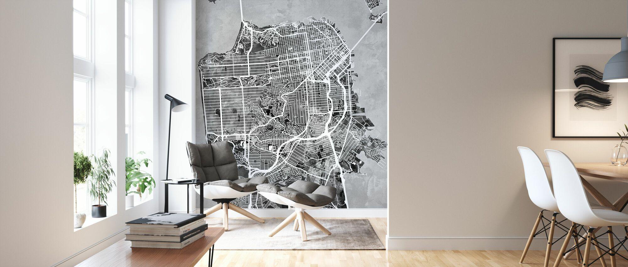 San Fransisco Street Kartta B/W - Tapetti - Olohuone