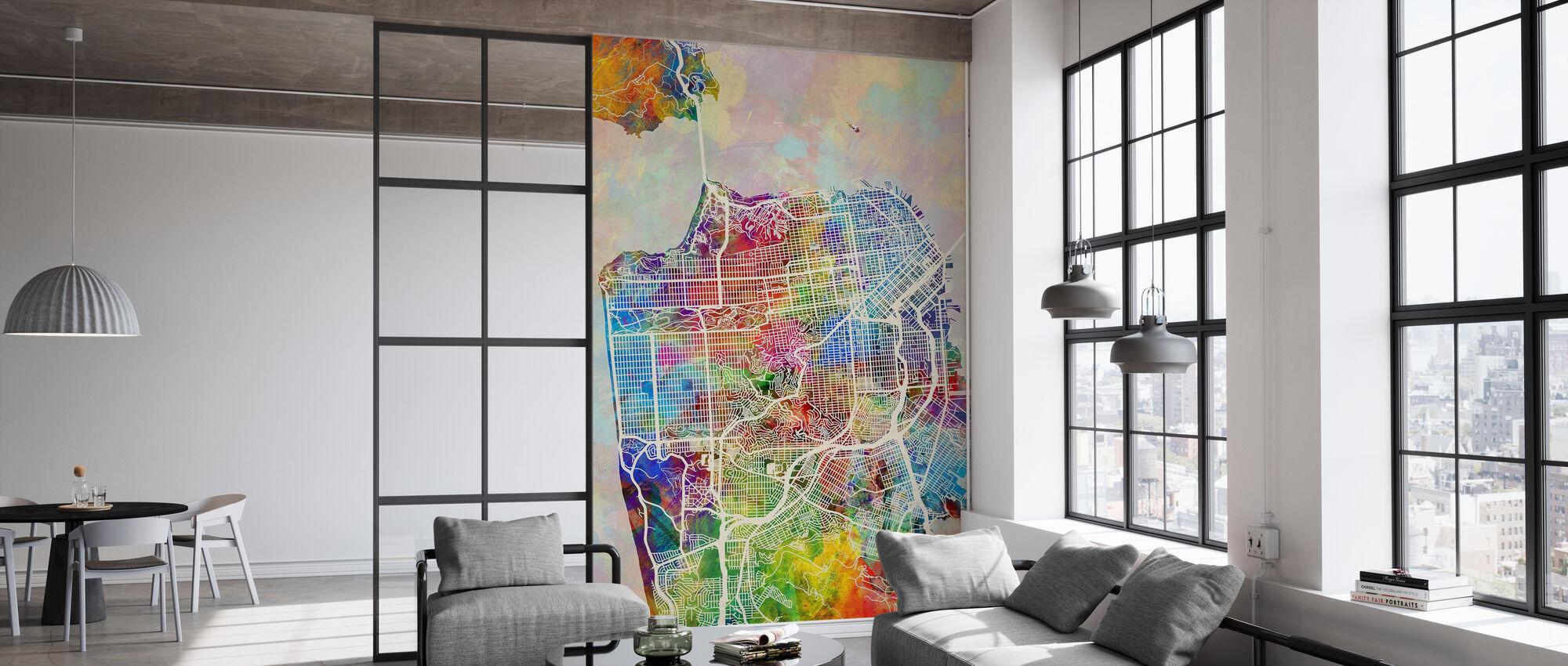 San Fransisco Street Kartta Multicolour - Tapetti - Toimisto
