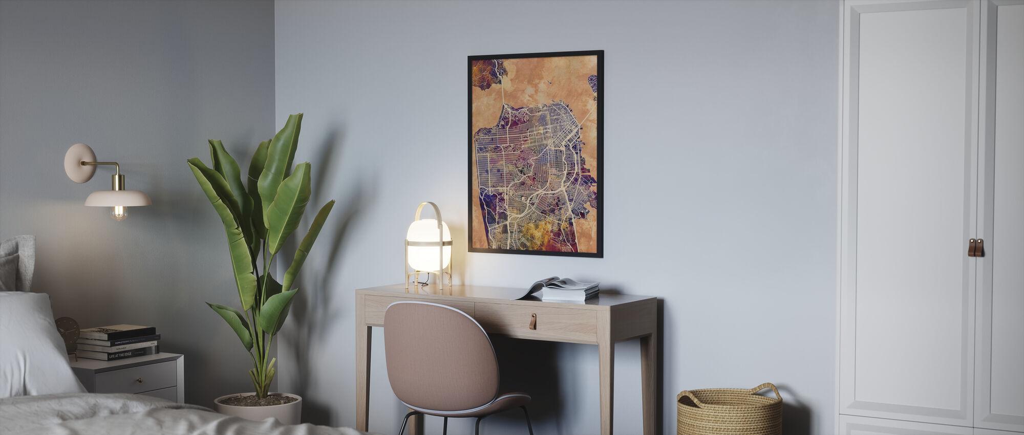 San Fransisco Street Map Purple - Framed print - Bedroom