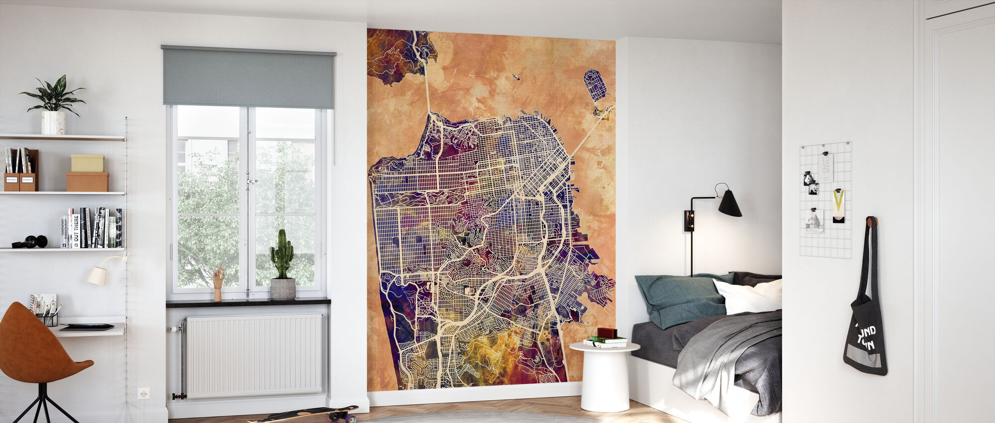 San Fransisco Street Kartta Violetti - Tapetti - Lastenhuone