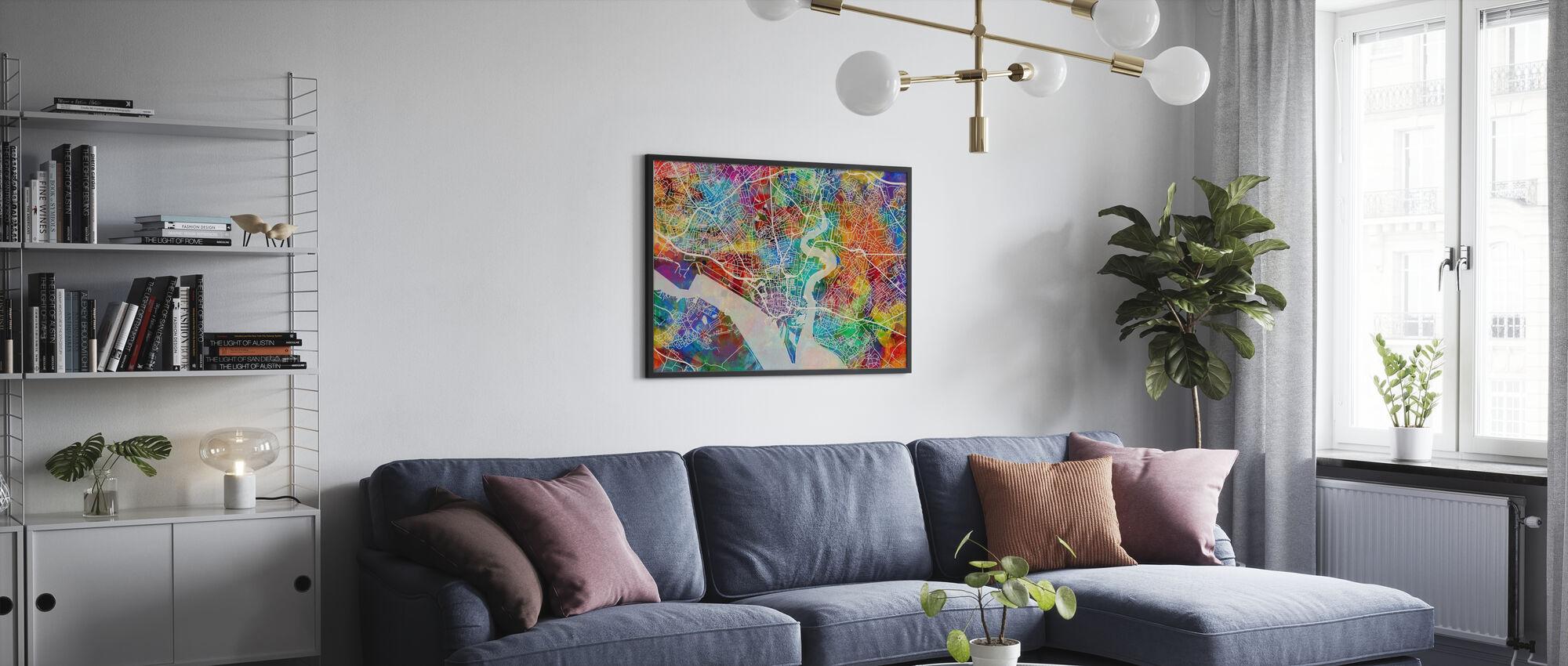 Southhampton Street Kartta Multicolour - Kehystetty kuva - Olohuone