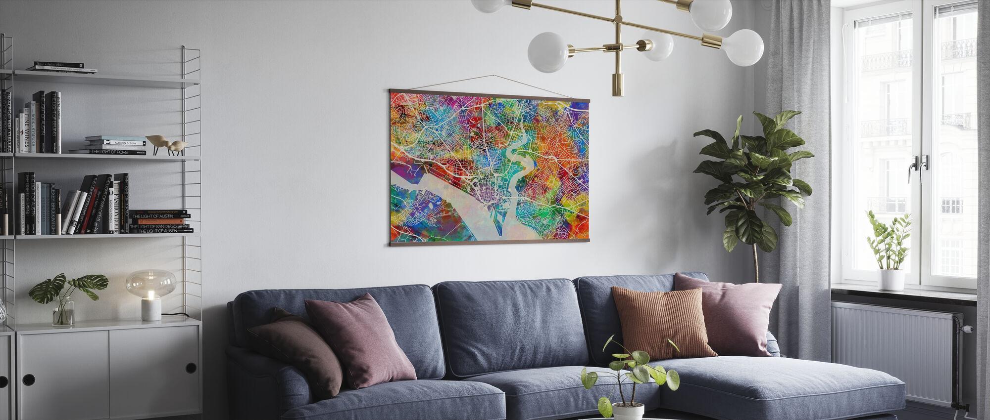Southhampton Street Map Multicolour - Poster - Living Room