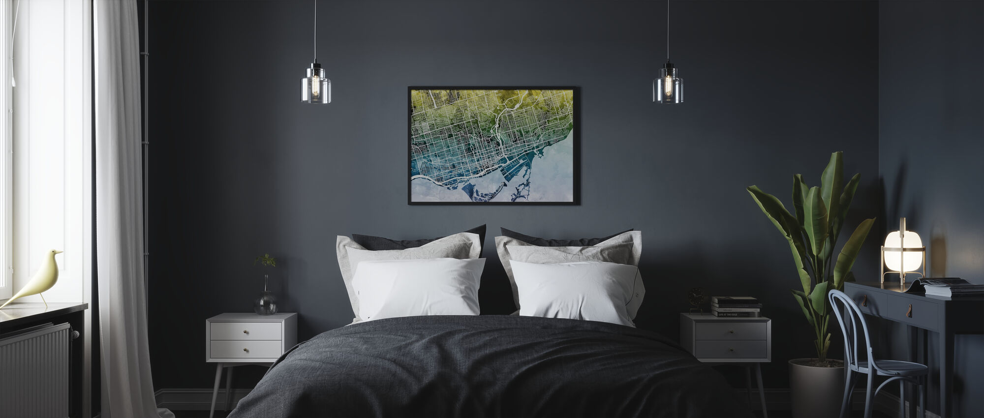 Toronto Street Map Bluegreen - Poster - Bedroom