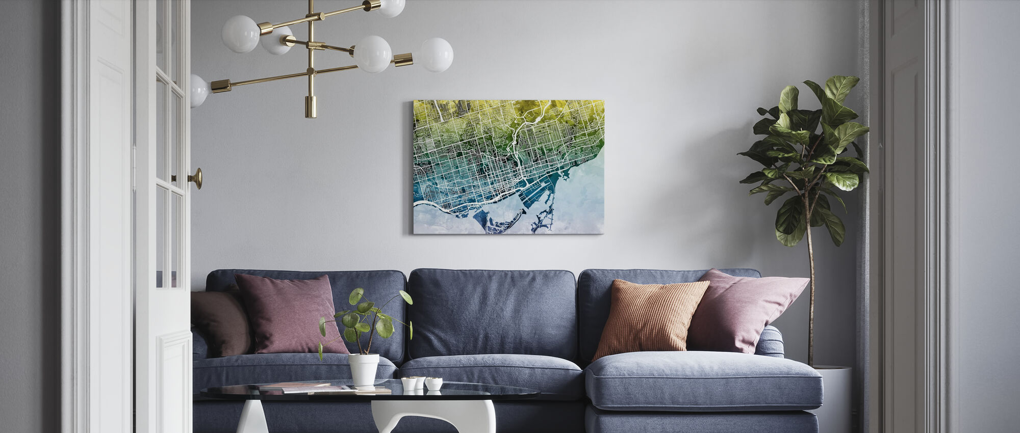 Toronto Street Map Bluegreen - Canvas print - Living Room