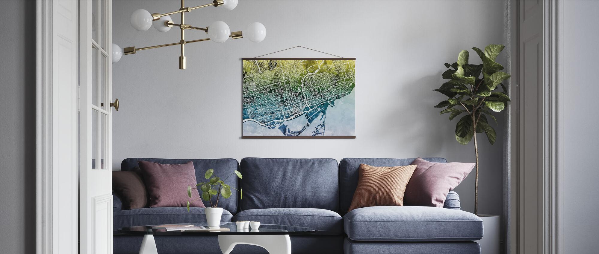 Toronto Street Map Bluegreen - Plakat - Stue