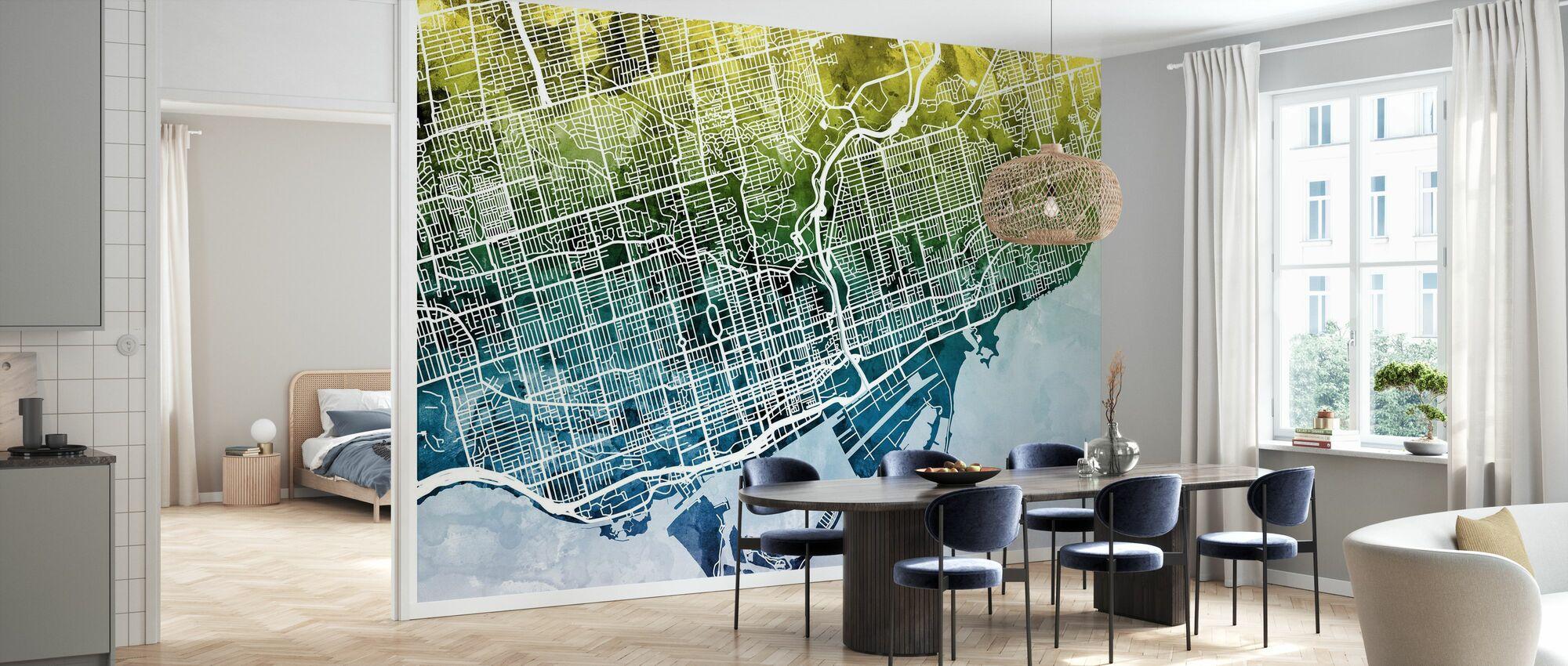 Toronto Street Map Bluegreen - Wallpaper - Kitchen