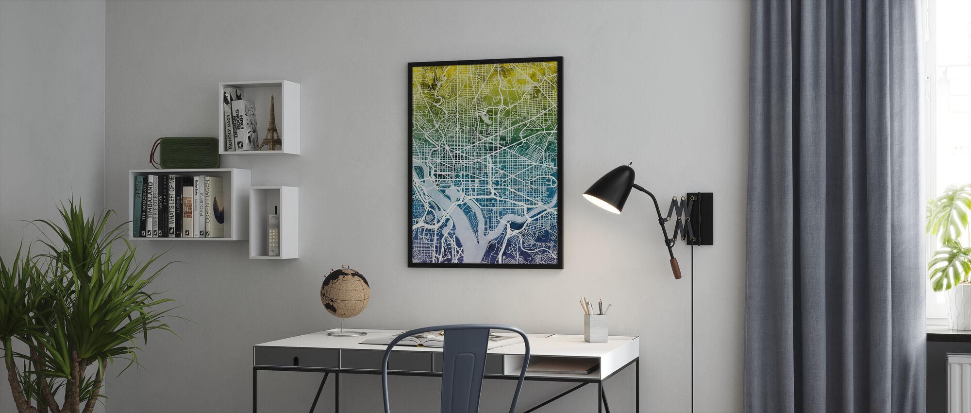 Washington DC Street Map Bluegreen - Framed print - Office